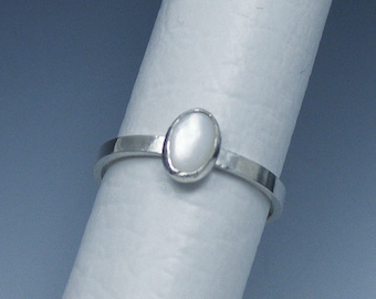Silver Ring with Natural Gemstone, Stacking Ring, Custom Order