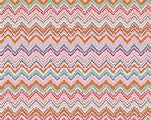 Orange Pink Aqua Chevron Fabric - Modern Quilting Sewing - Valorie Wells Nouvella Collection - cotton Fabric by the yard