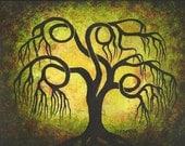 Curly Willow tree, TREE Art, Original Acrylic painting by Jordanka Yaretz