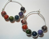 Aqua Terra Jasper and Silver-Filled Hoop Earrings - Chakra