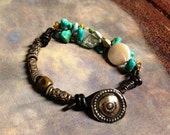 Turquoise, Pearl, Silver & Leather Bracelet