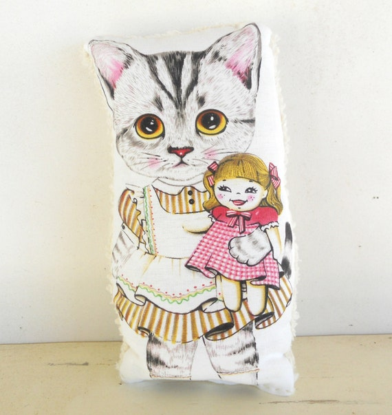 Nursery Decor, Childs Pillow, Doll Pillow Toy, Cat Doll, All Natural, Shower Present