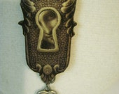 Keyhole Wood Pendant Necklace, with face