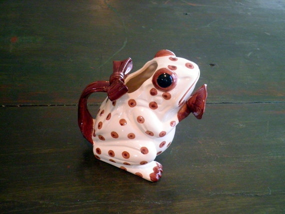 Vintage Ceramic Polka Dot Frog Watering Can Planter Vase