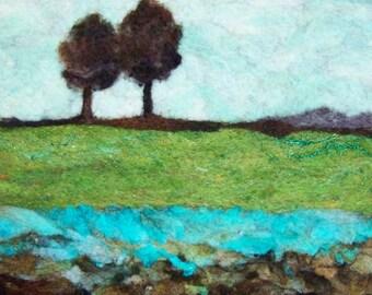 No.741 On the Edge - Needlefelt Art XL - Wool Painting