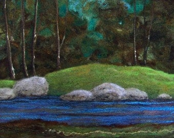 No.745 Walk in the Woods - Needlefelt Art XL - Wool Painting