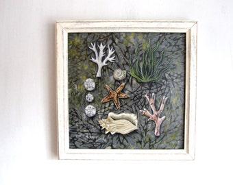 Beachcomber, nautical art decor, beach decor, coral seaweed, seashell , sand dollar, shabby chic, framed Original Artwork