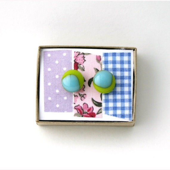 Fused Glass Earrings in Turquoise Blue and Green