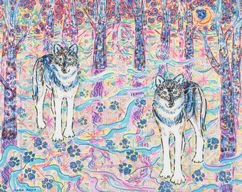 Art Print, Giclee, Wolf, Nature, Woods, Eco-friendly, Harmony, Wall Art, Mystical, Trees, Paw Prints, Blue, Wild, Colorful, Bohemian, Shaman