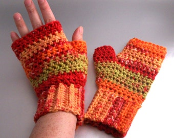 SALE - Flashback - Crochet - Fingerless Gloves - Hand Warmers - Orange - Red - Green