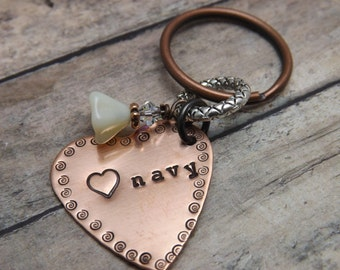 Navy-Military support keychain-personalized-handstamped-coast guard-army-navy-marines-airforce