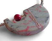 Grey Magenta Necklace: pendant polymer clay silk dyed embossed silver beaded glass stone neutral tones half moon shape