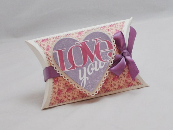 Shabby Chic Pillow Boxes : Pillow Box Gift Card Holder with Love You Heart - Shabby Chic from PartyDecorandMoore on Etsy Studio