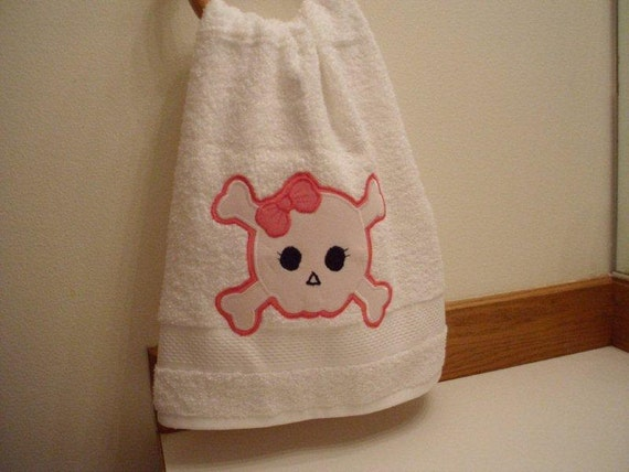 Skull with Bow Hand Towels ON SALE