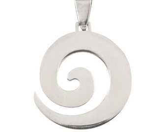 Stainless Steel 28mm x 32mm Silver Spiral Pendant -  1 Pendant - 1436