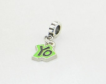 Green YO large hole dangle charm bead for European bracelets and necklaces