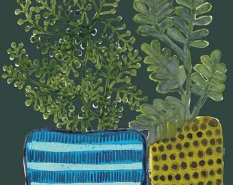 plant pots archival print