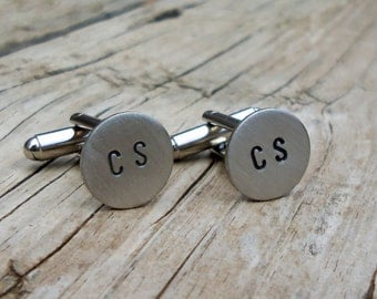 Custom  Hand Stamped Cuff Links Double Monogram