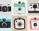 vintage cameras - set of 6 prints