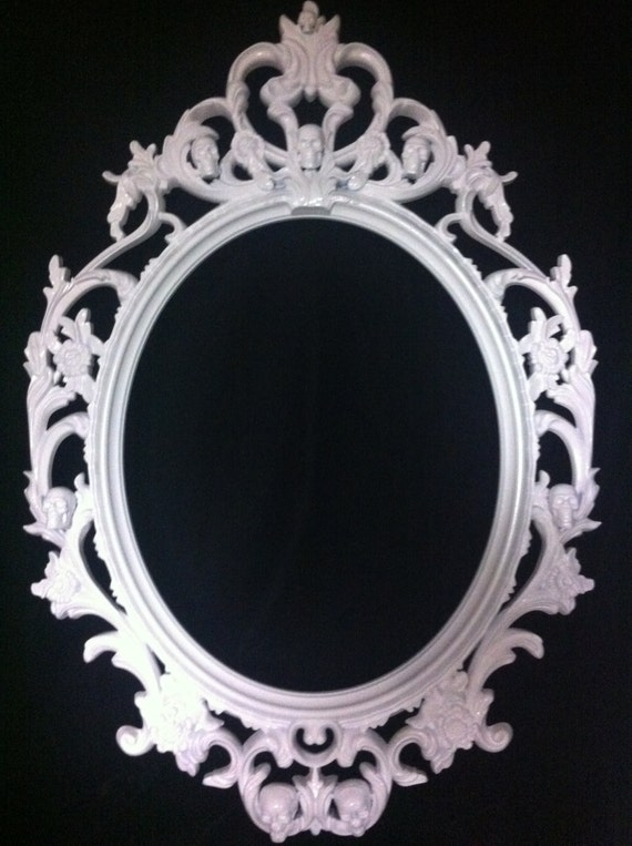 Gloss White Skull Oval Picture Frame Mirror Shabby Chic