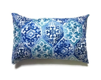 Decorative Pillow Covers Midnight Blue Powder Blue Teal White Lumbar Damask Design Handmade Toss Throw Accent Cover 12 x 18 inch
