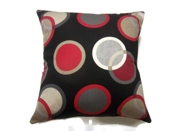 Throw Pillows Girly : Decorative Pillow Cover Black White Red Gray Taupe Circle
