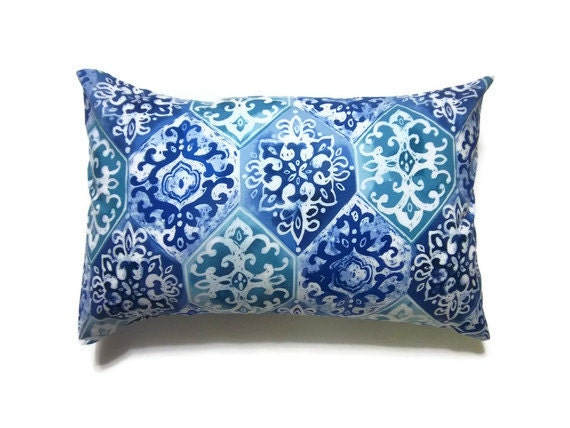 Items similar to Decorative Pillow Covers Midnight Blue Powder Blue Teal White Lumbar Damask ...