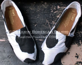 Custom Toms Shoes, Custom Toms, Hand Painted TOMS, Black and White Cow Print, Custom Hand Painted Shoes for Women, FFA, Future Farmers, TOMS