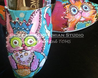 Toms Painted, Hand Painted Shoes, Womens Colorful Atomic Bunny Cartoon Flats, Rainbow Rave Party, Kawaii Rabbit Collection, Art Slip-on Shoe