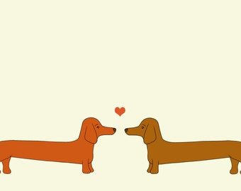 Dachshund Love Print, Fine Art Print by Kate Durkin, Dachshund Art Print