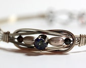 Sterling Silver and Rainbow Topaz Wire Wrapped Elegant Bangle