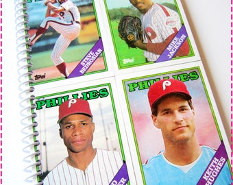 Baseball Journal, 1988 PHILADELPHIA PHILLIES Vintage Topps Trading Cards Recycled, Upcycled Notebook, Spiral Bound and Eco Friendly, OOAK