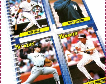 Last One, Journal, 1990 NEW YORK YANKEES Vintage Topps Baseball Trading Cards Recycled / Upcycled Notebook, Eco Friendly, Sports, Baseball