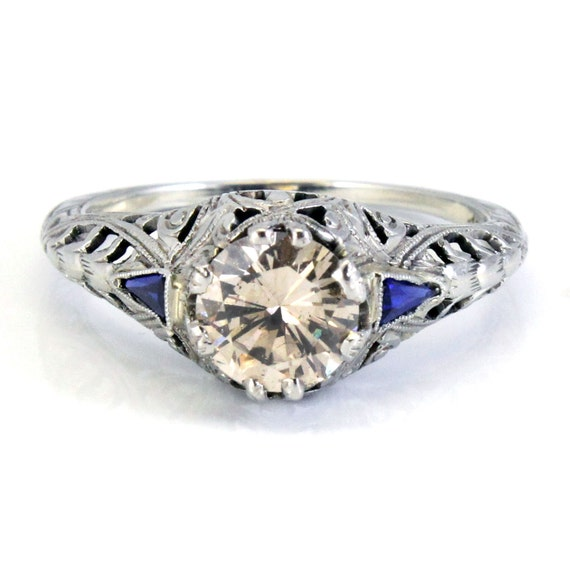 18K Antique 1.08ct Diamond Blue Sapphire Filigree Engagement Ring