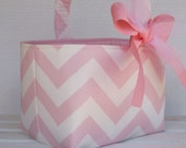 Easter Fabric Candy Basket Bin Bucket Egg Hunt Storage Container - Light Pink/ White Chevron ZigZag Fabric
