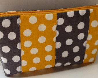 READY TO SHIP - Fabric Zippered Pouch Clutch Bag - Grey and Yellow Polka Dots