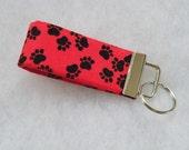 Mini Key Fob  - Black paw prints on red
