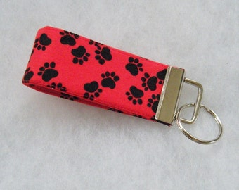 Mini Key Fob  - Black paw prints on red