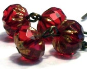 Ruby Red And Bronze Brass Earrings - malves1009