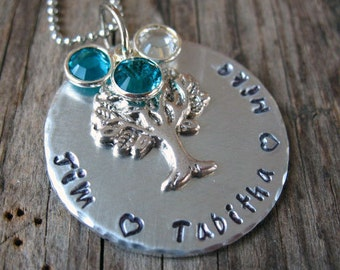 Personalized Mommy Necklace -  Mom of Three, Family Necklace, Family Tree, Birthstones, Hand stamped , Childrens Names,