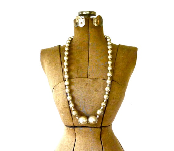 Vintage Giant Silver Plated Bauble Bead Necklace