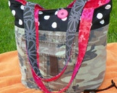 Recycled Reversible Camo, Pink and Orange Tote