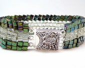 Emerald Frost Beadwoven Bracelet - Cubic Meter Collection