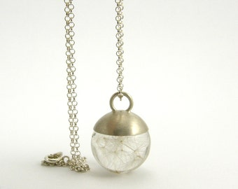Delicate Dandelion Seeds Necklace, Small Resin Round with Silver Cap and Sterling Silver Chain, Romantic Jewelry