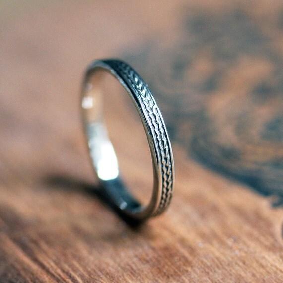 White gold wedding band women, braided ring, womens wedding ring, 2mm ring, recycled 14k palladium white gold, wheat ring, made to order