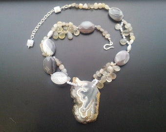 Thunderstorm handmade plume agate statement necklace