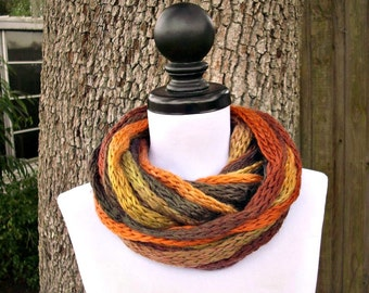 Circle Scarf Knit Infinity Scarf Infinity Cowl - Cowl Scarf in Safari Autumn Brown Rust Yellow Womens Accessories - READY TO SHIP