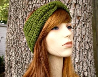 Womens Crochet Olive Green Headband Olive Green Ear Warmer Olive Green Turban - Crochet Turban Headband Olive Green - Womens Accessories
