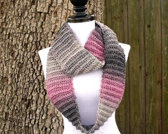 Circle Scarf Infinity Scarf Crocheted Cowl Scarf Grey Scarf - Ribbed Infinity Cowl in Shadow Pink Charcoal Grey - Womens Accessories
