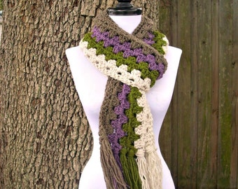 Crocheted Chunky Scarf - Granny Scarf in Linen Olive Plum Taupe - Multicolor Scarf Womens Accessories - READY TO SHIP